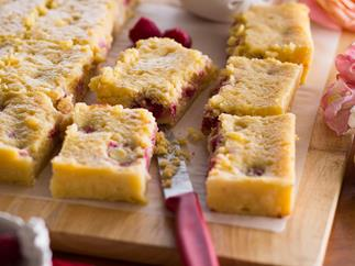Raspberry & white chocolate slice