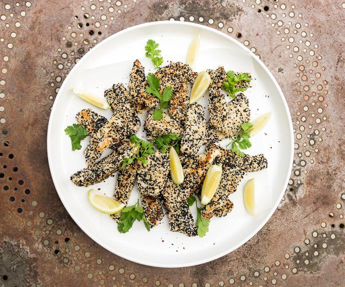 Sesame-crusted fish fingers