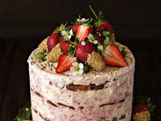 Fresh strawberry ice cream gâteau