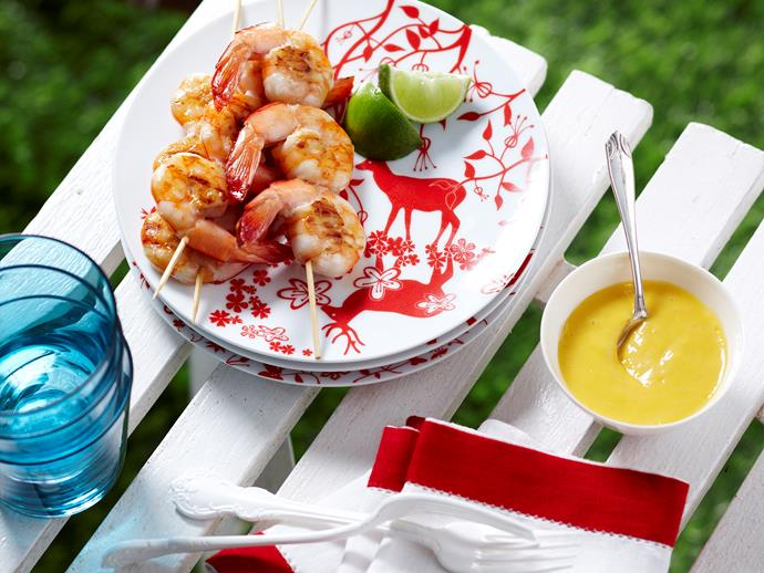 """[Barbecued prawns with mango sauce](http://www.foodtolove.com.au/recipes/barbecued-prawns-with-mango-sauce-11802