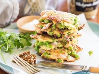 Ham, pea & parsley fritters