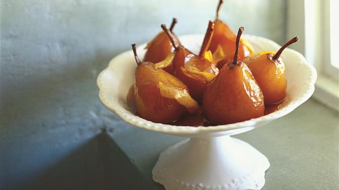 Glazed pears with mascarpone
