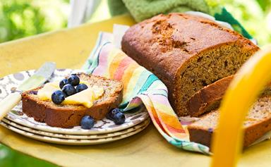 Banana bread with honey butter & blueberries
