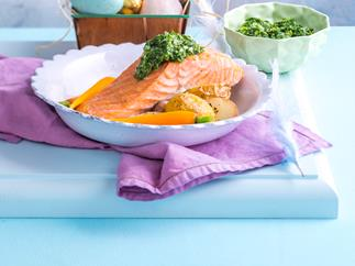 Salmon with pea purée