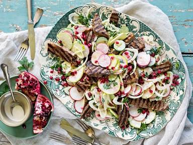 Grilled beef summer salad