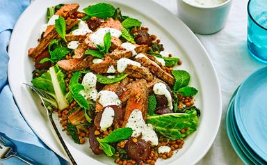 Peppered lamb with silverbeet & lentil salad
