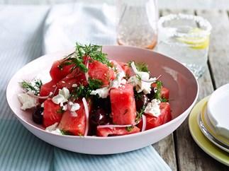Watermelon, olive & feta salad