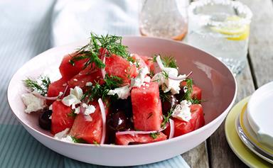 Watermelon, olive & feta salad