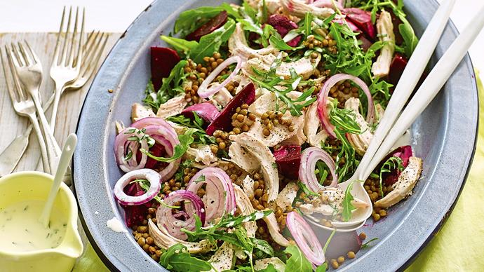 Chicken & beetroot salad with tarragon dressing