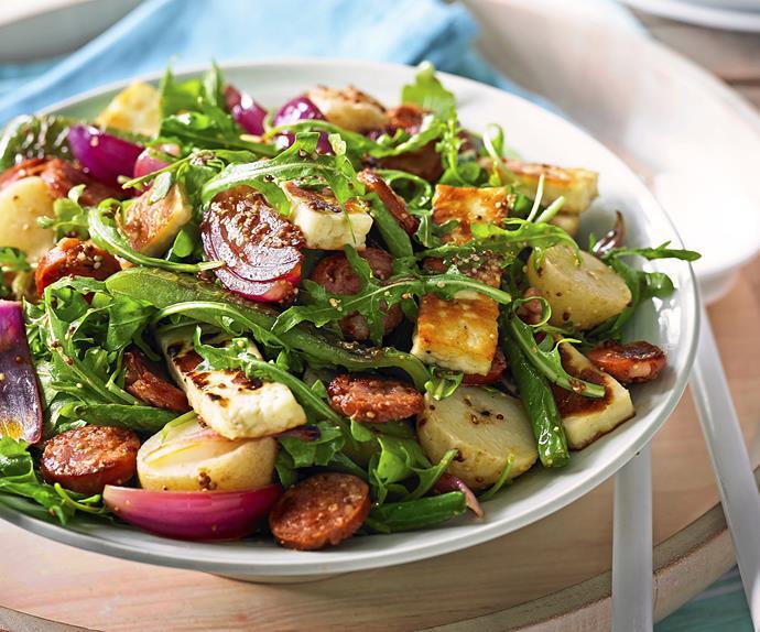 Chorizo, haloumi & potato salad