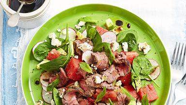 Watermelon, radish & balsamic beef