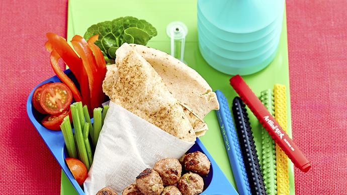 Tasty meatballs with finger-food salad