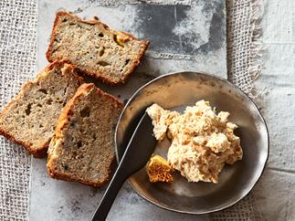 Banana bread with honeycomb butter