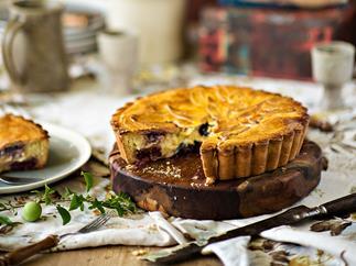 Plum & cherry gâteau basque