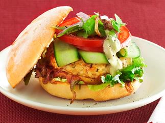 Lemon Chicken Burgers with Caramelissed Onion