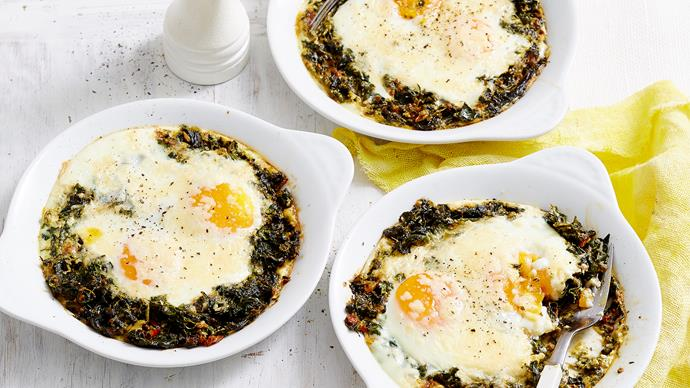 Parmesan and spinach baked eggs