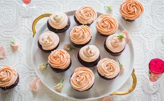 Tim Tam cupcakes with strawberry champagne frosting