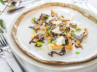 Olive oil & rosemary schiacciata with wild mushrooms