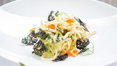 Angel hair pasta with crispy whitebait & lemon carbonara