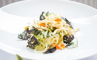 Angel hair pasta with crispy whitebait & lemon carbonara