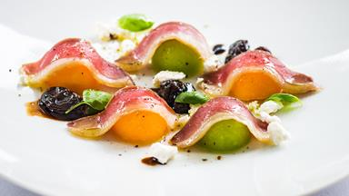 Duck prosciutto & melon with goat's cheese & muscatels