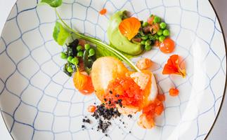 Roasted hapuku with prawns, peas & blood orange