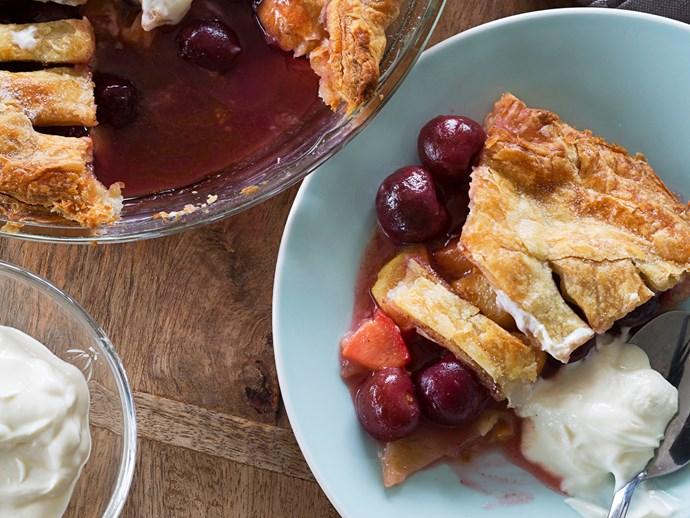 Peach and cherry pie