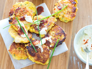 Corn and prawn fritters