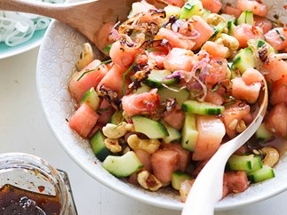 Watermelon and cashew salad with chilli caramel