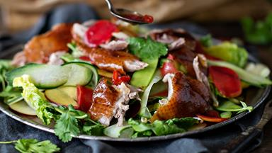 Barbecued duck salad with stone fruit & plum sauce