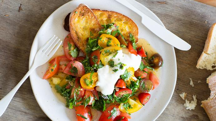 Tomato smash with feta whip