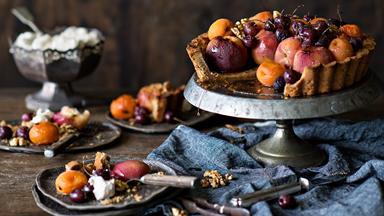 Walnut tart crust with roasted harvest fruits & maple glaze
