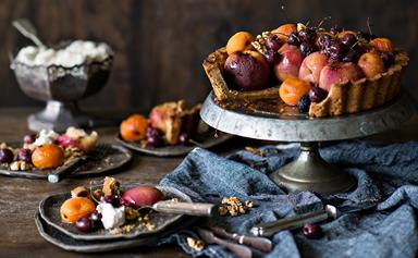 Walnut tart crust with roasted harvest fruits & maple glaze