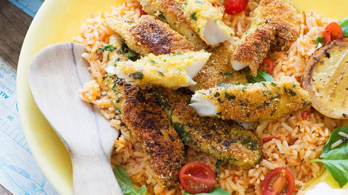 Tomato rice with crumbed fish