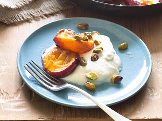 Roasted nectarines with vanilla syllabub