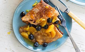 Buckwheat crêpes with orange honey syrup