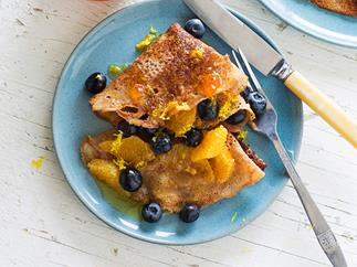 Buckwheat crêpes with orange honey syrup
