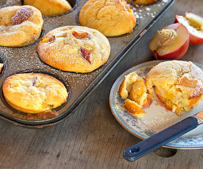 Nectarine and cardamom muffins