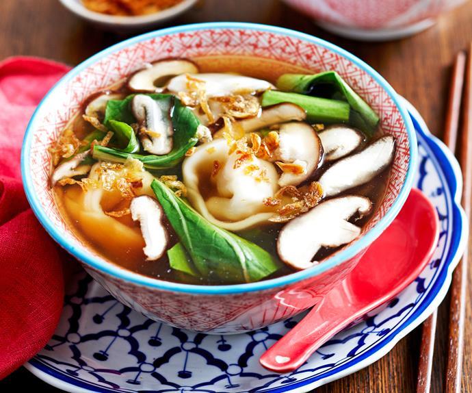 Chicken and corn dumpling soup