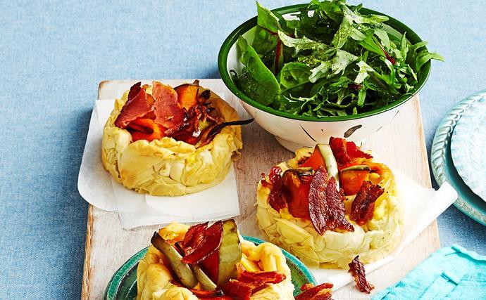 Pumpkin and root vegetable tarts