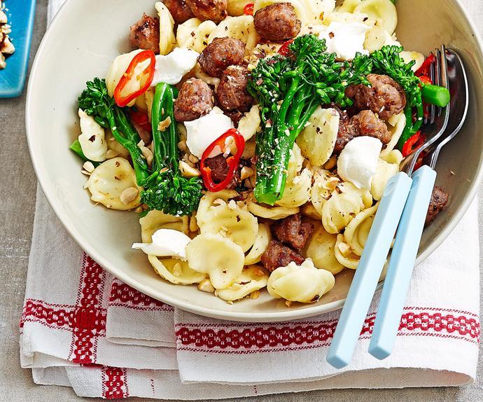 Broccolini, goat's cheese and sausage orecchiette