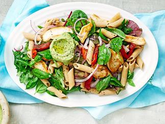 Chicken superfood pasta with avocado pesto