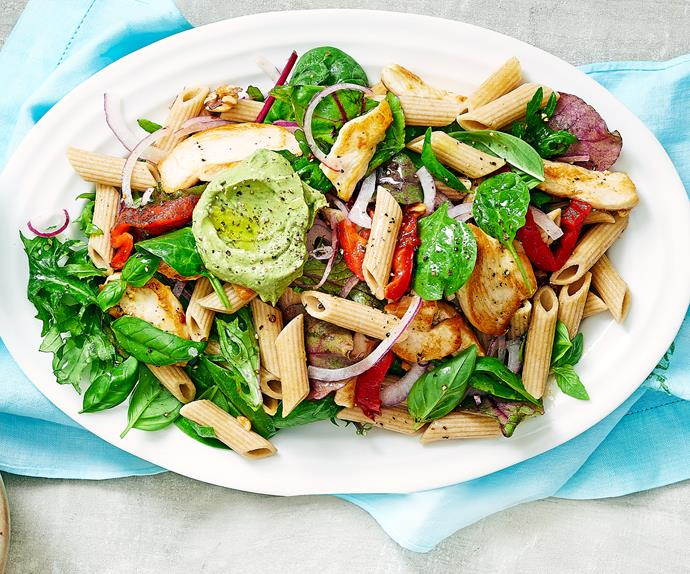 Chicken superfood pasta with avocado pesto
