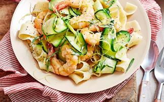 Creamy lemon prawn and zucchini pappardelle