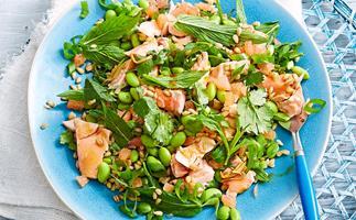 Salmon with edamame, grapefruit and barley salad