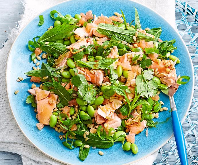 Salmon with edamame, grapefruit and barley salad
