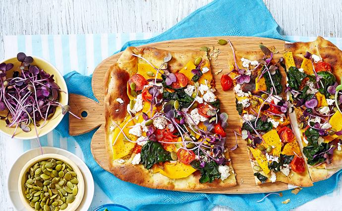 Avocado naan with pumpkin, feta and swiss chard