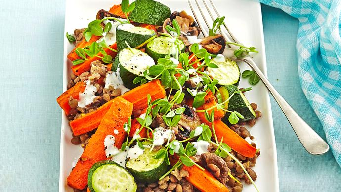Vegetable and lentil salad