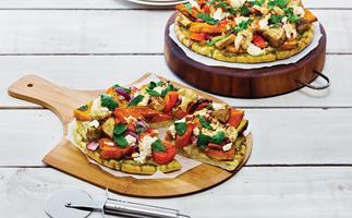 Roast vegetable and pesto pizza