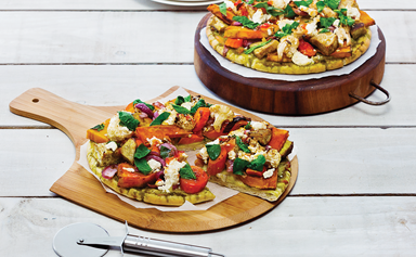 Roast vegetable and pesto pizza